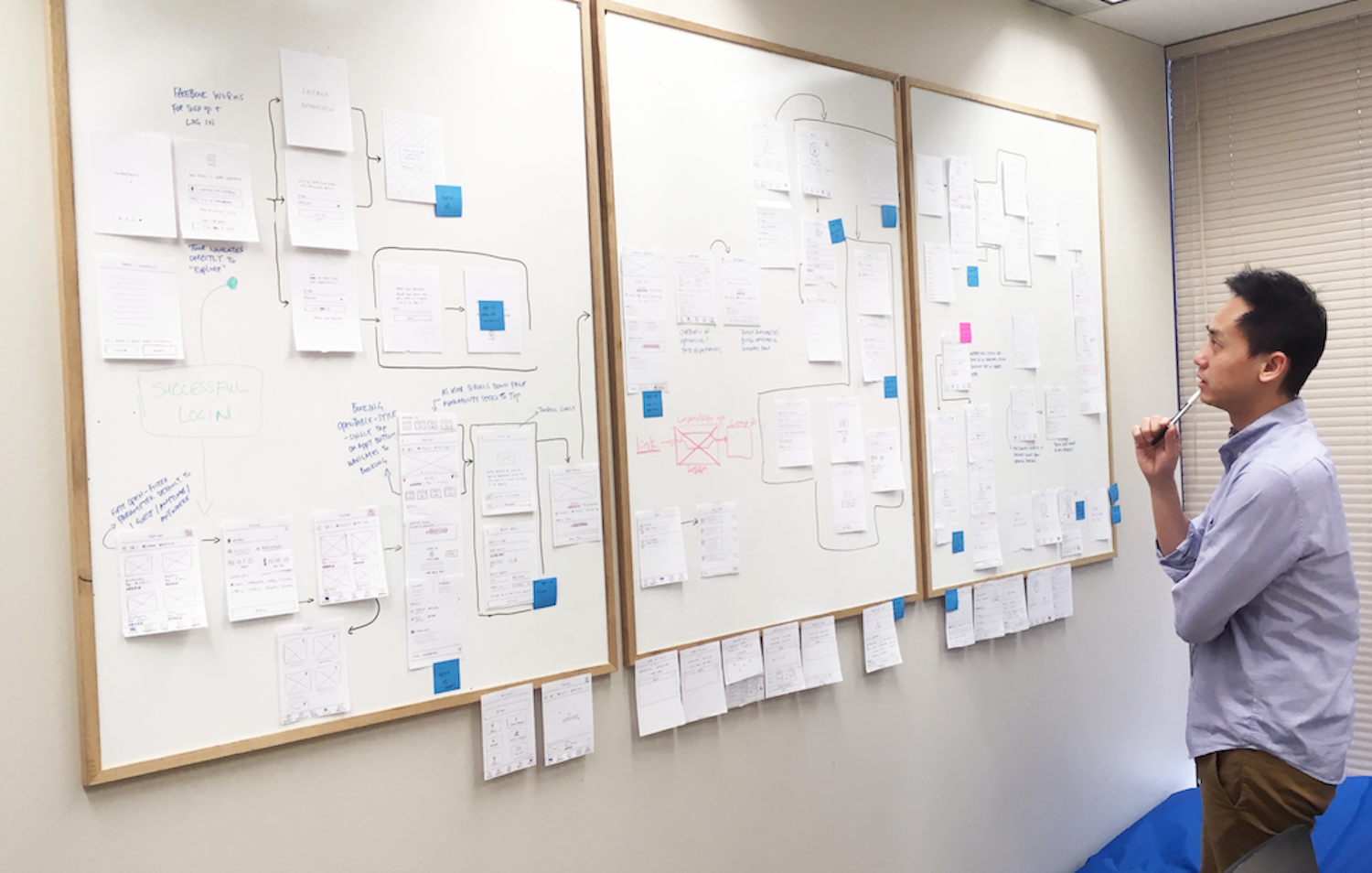 TTT Designer laying out wireframes on a whiteboard for Yervana app