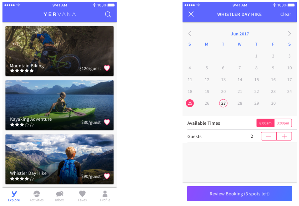 Yervana app explore screen and calendar screen