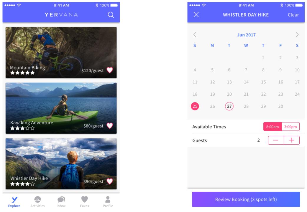 Yervana app explore screen and calendar screen