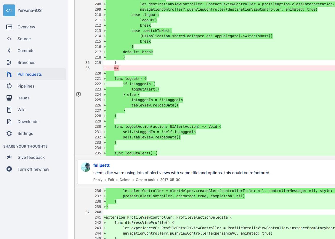 Example of bitbucket pull request for Yervana app