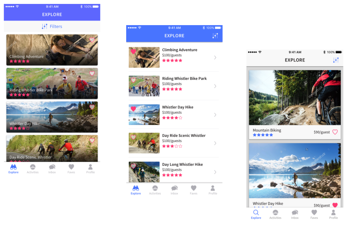 Different UI treatments for the explore tab