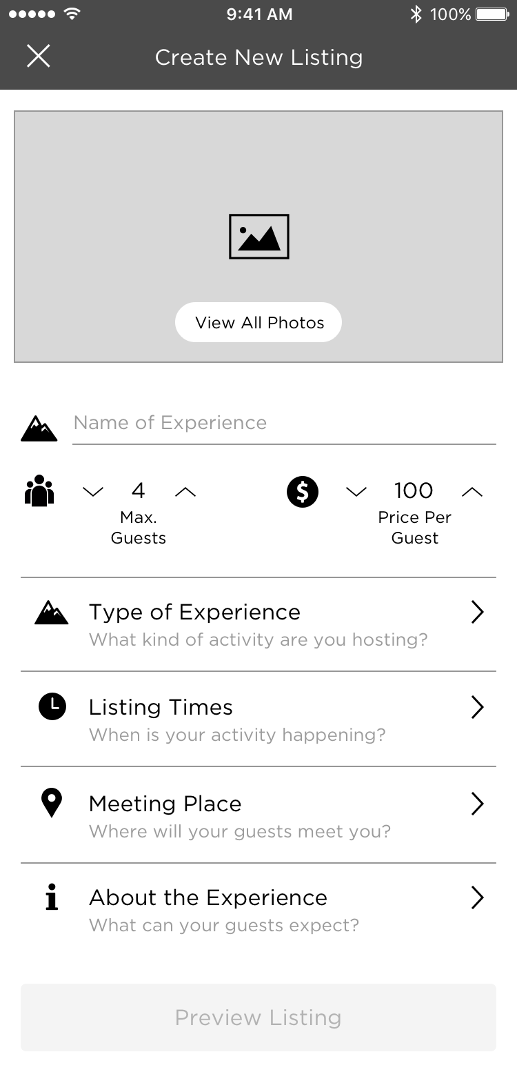 """UX screen in greyscale for """"Host view"""" of Yervana app"""
