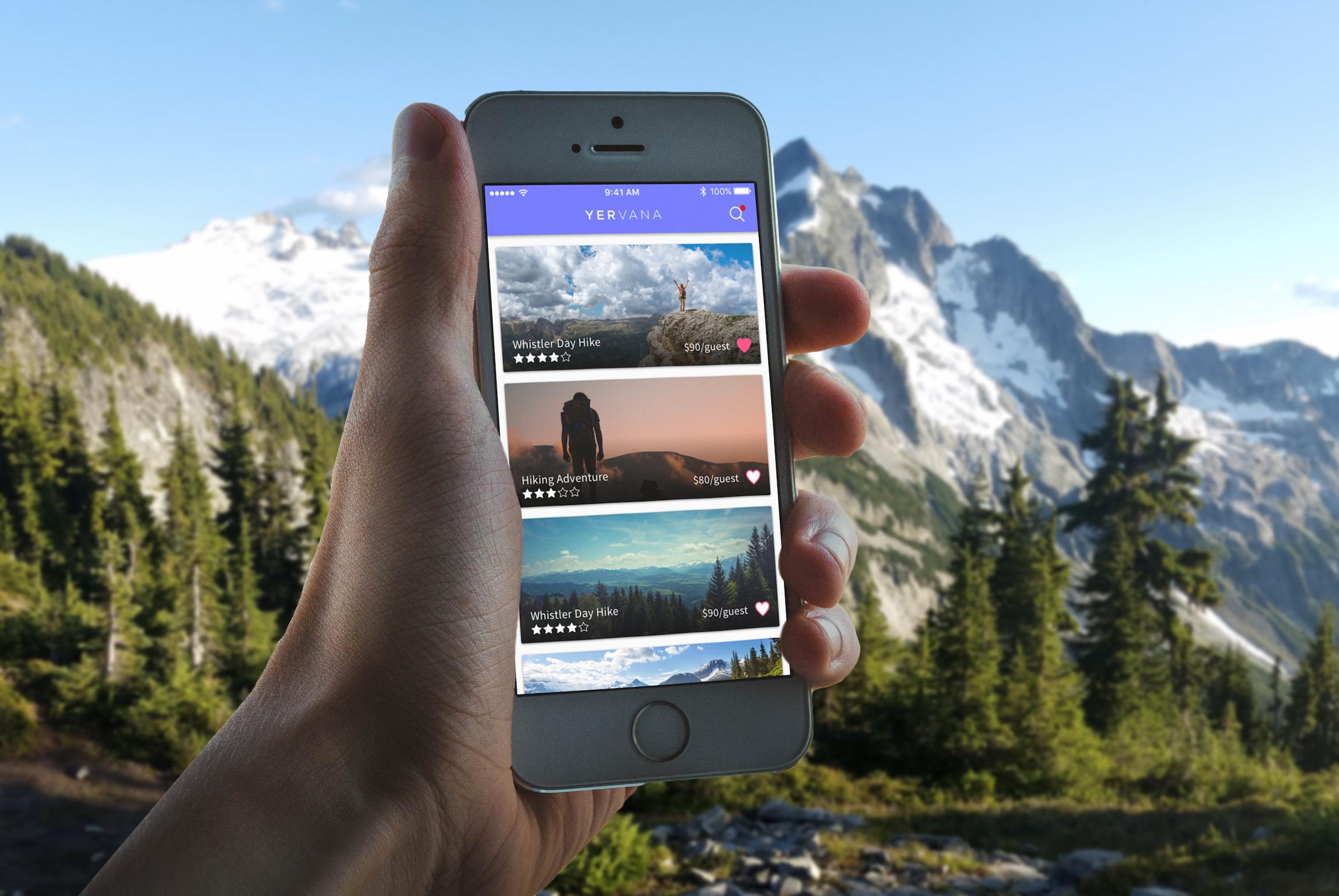 Final mockup of Yervana app in users hands