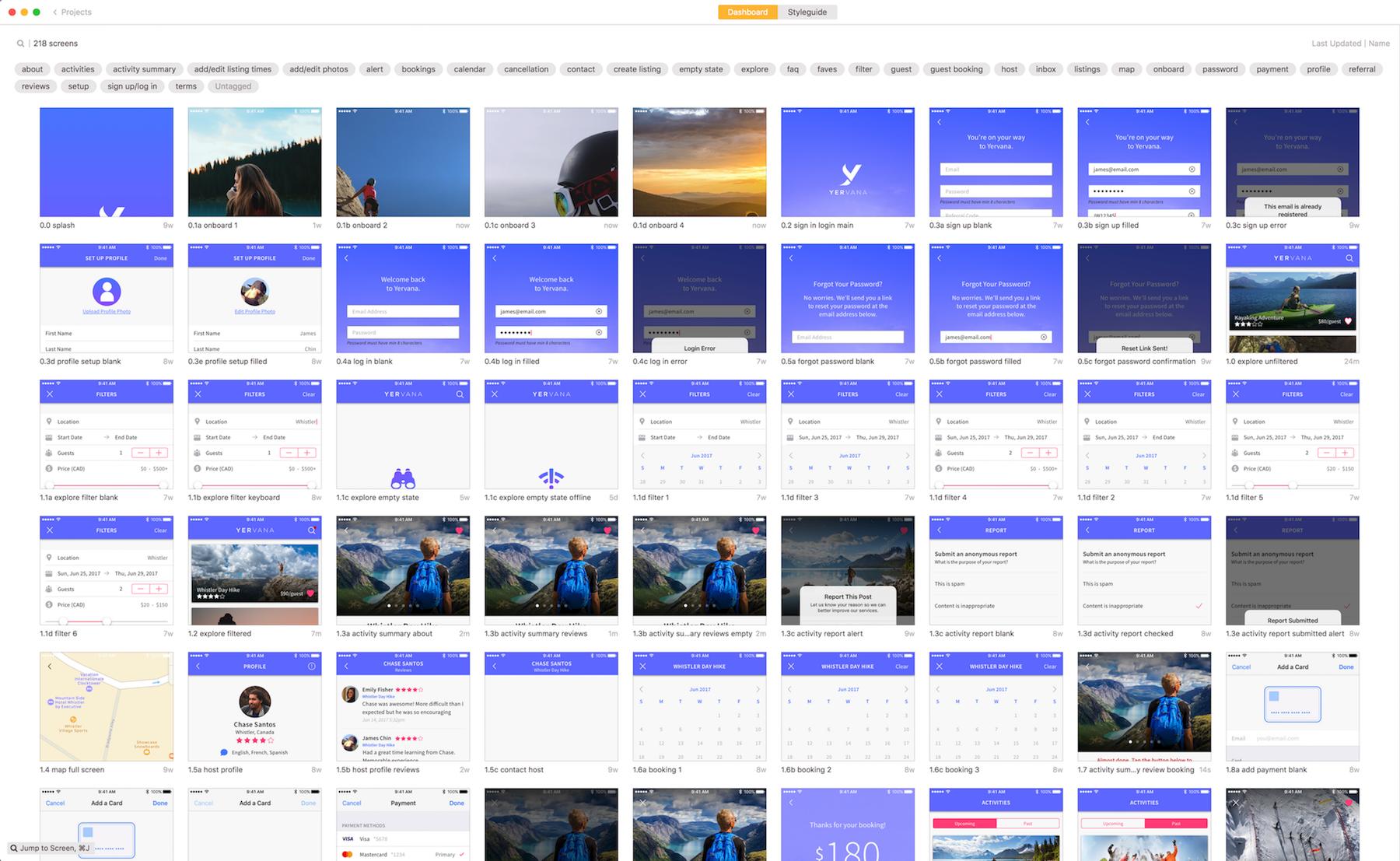 Layout of zeplin screens for Yervana app UI