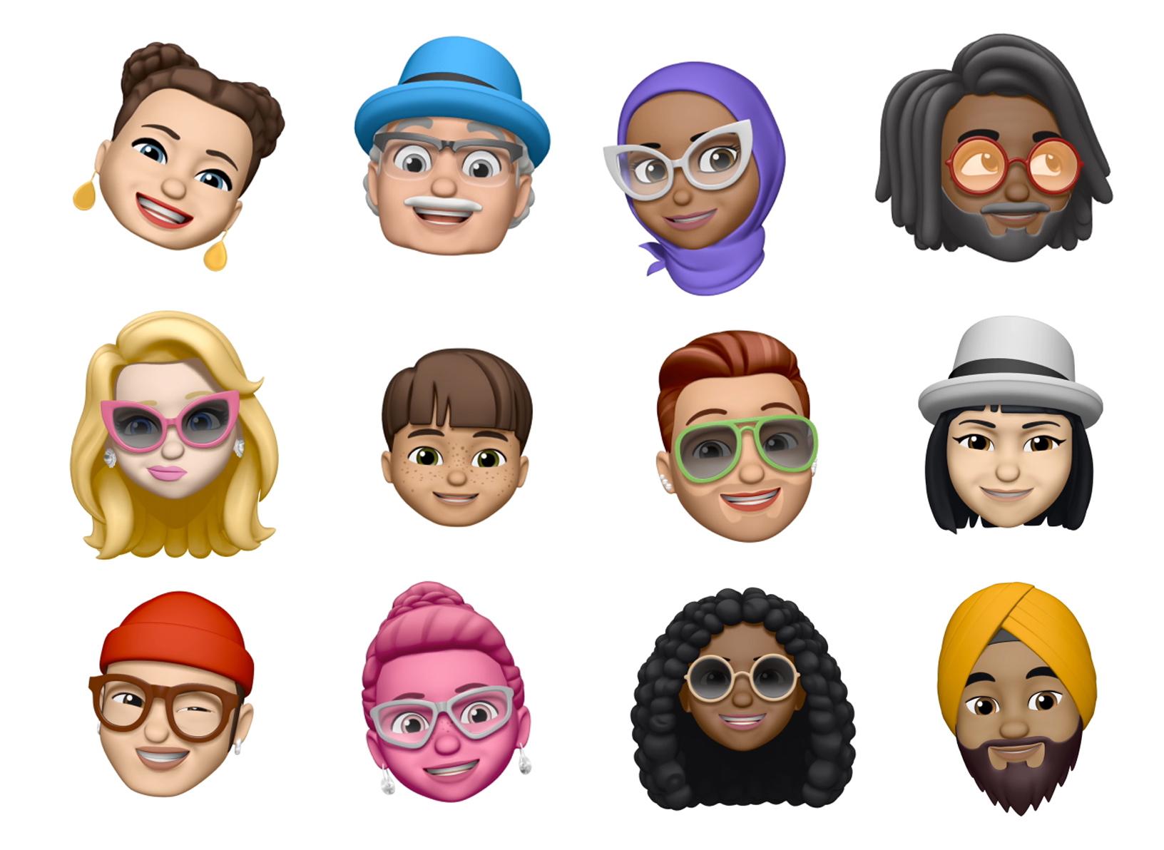 Example of a diverse set of Memoji faces