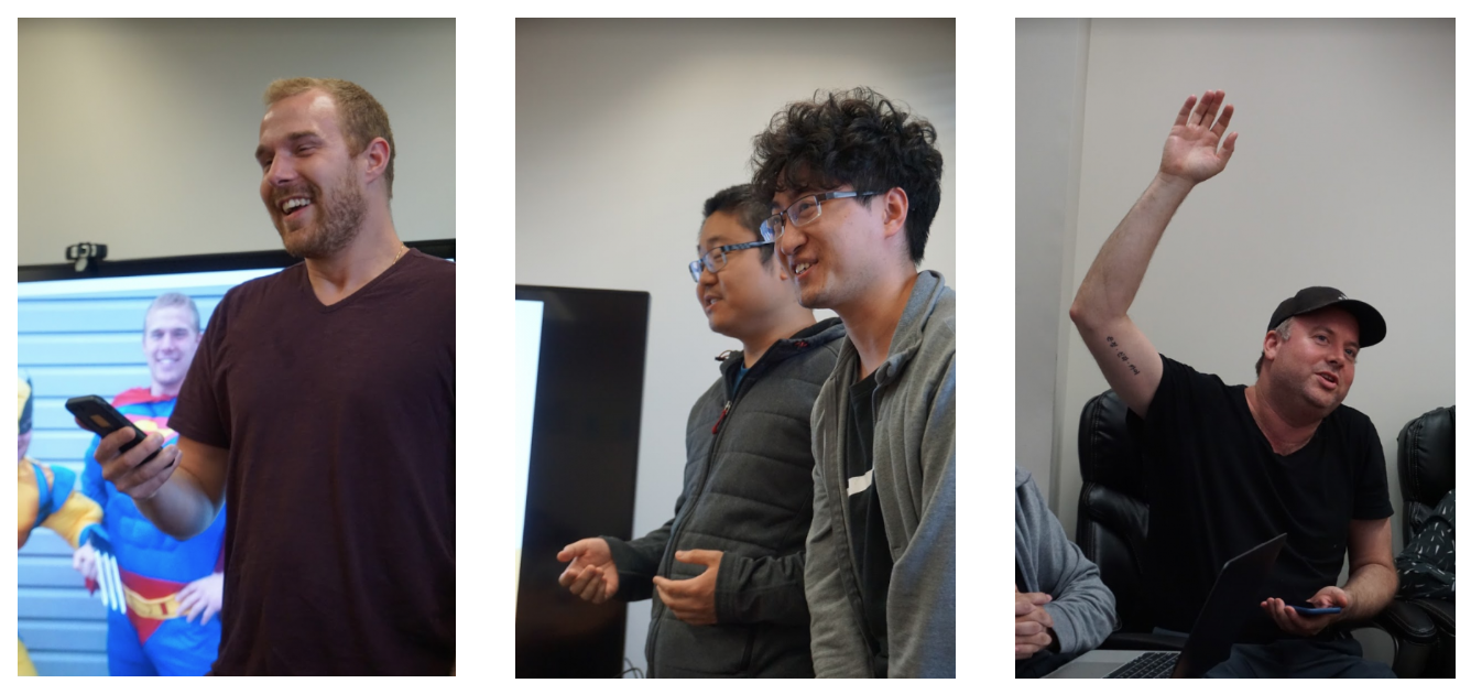 series of 3 images showing the hackathon presentations