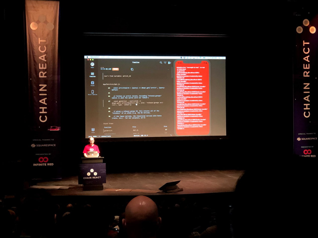 React Native Conference Stage with the Keynote Presentation