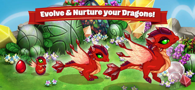 "dragonvale poster with the title ""evolve and nurture your dragons!"""