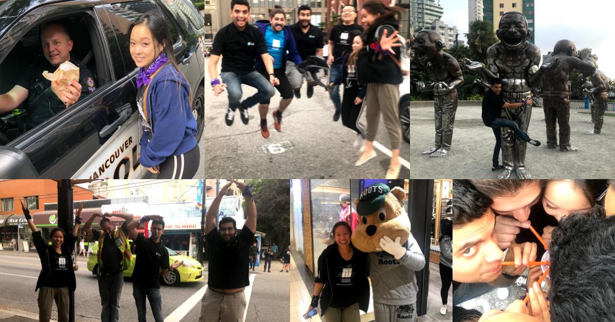 photo collage of team purple