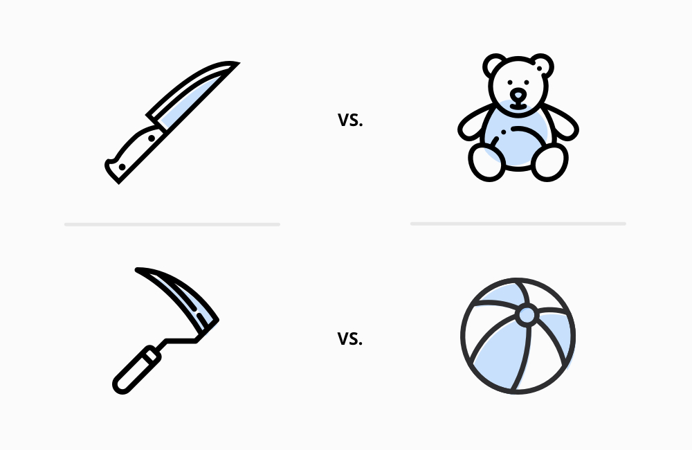 Image of knife vs. teddy bear