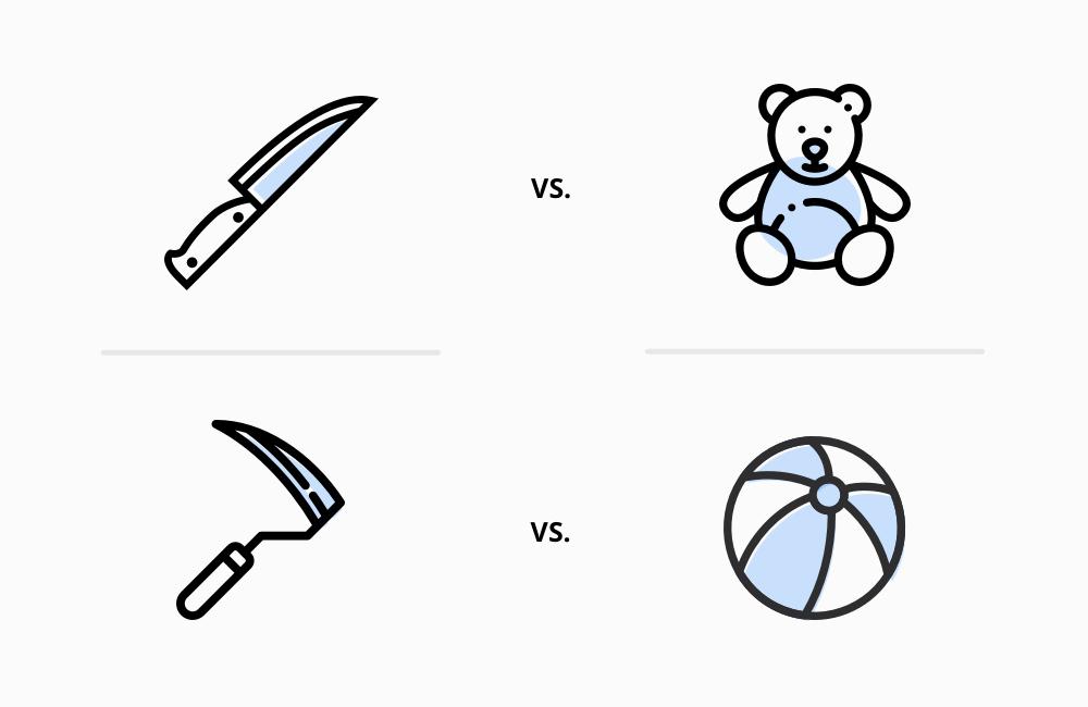 Image of knife vs. teddy bear
