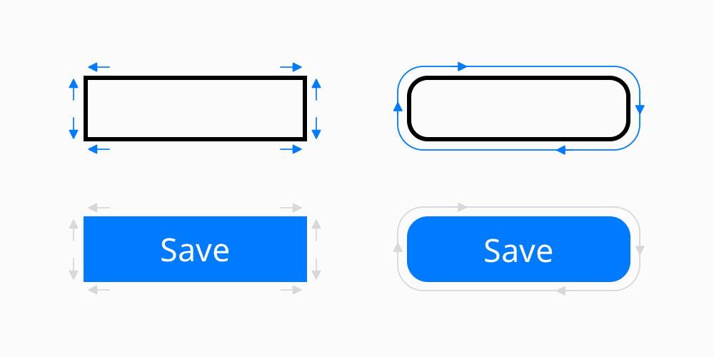 Rectangular vs. rounded CTA button