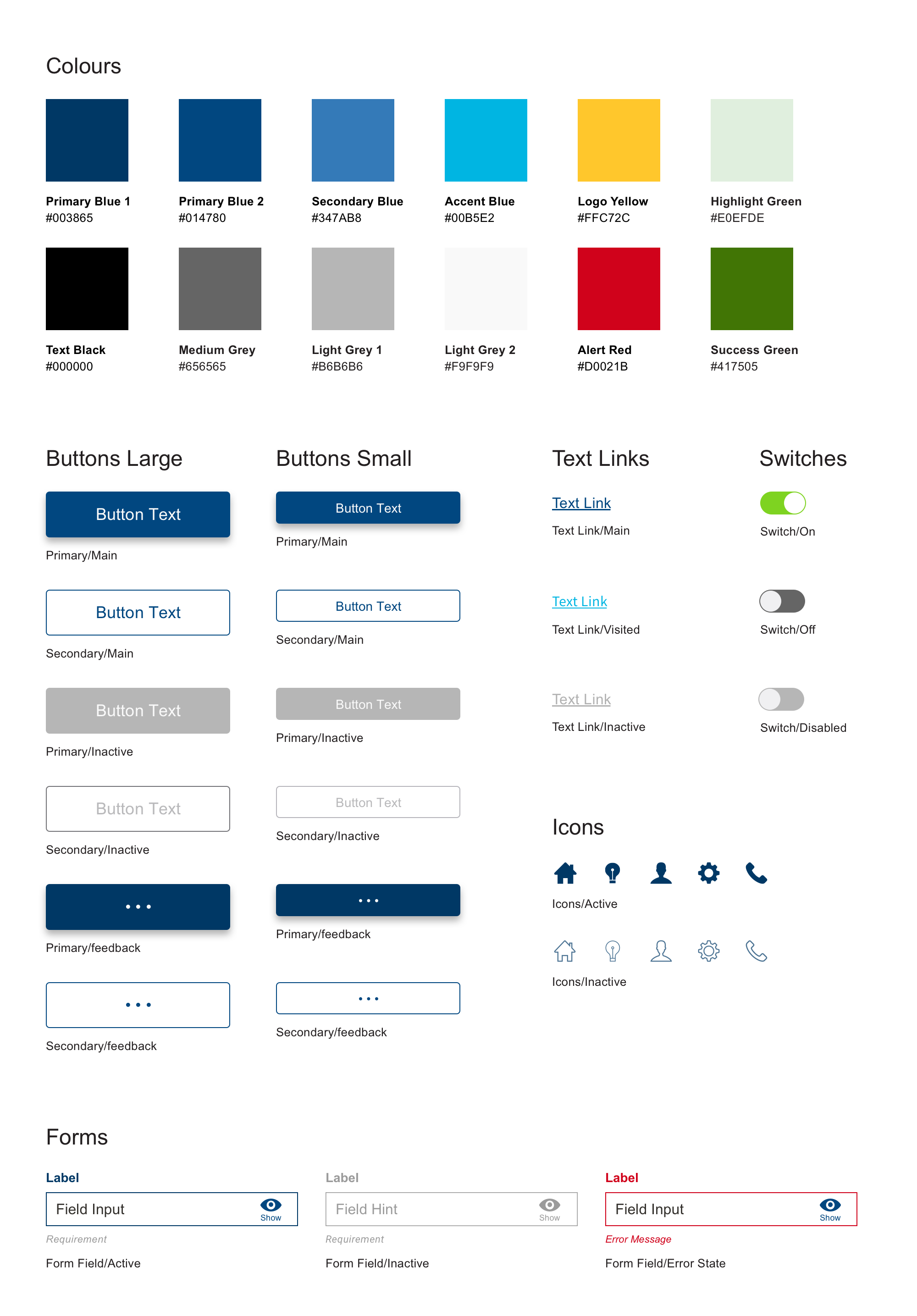 Style guide with twelve colour options as well as button, link, switch, form and icon options.