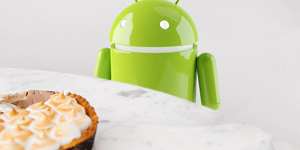 Picture of a android robot in front of a pie