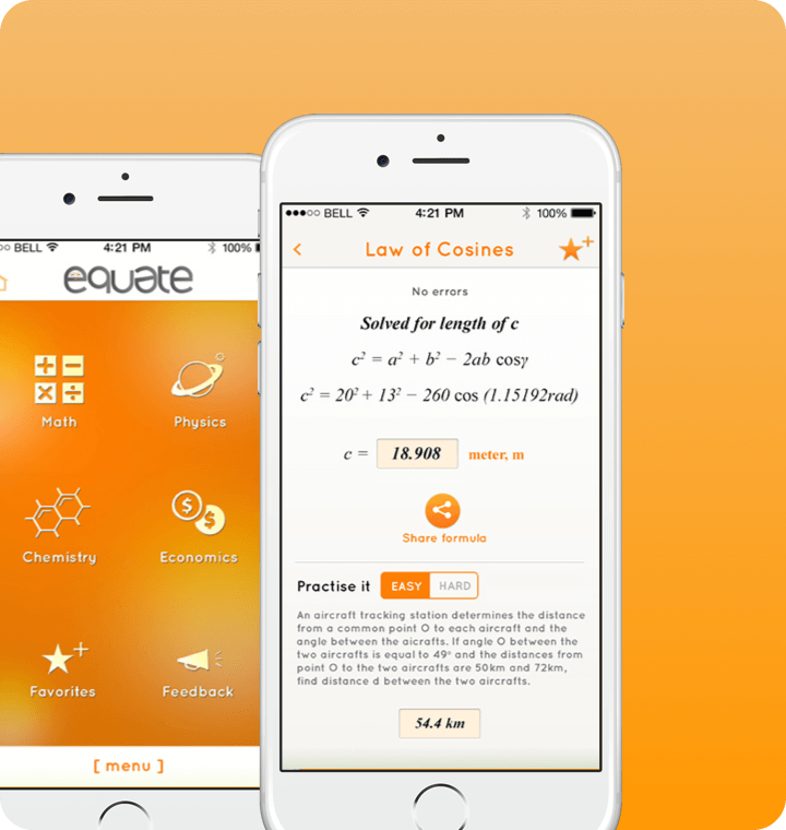 equate iOS app screen UI