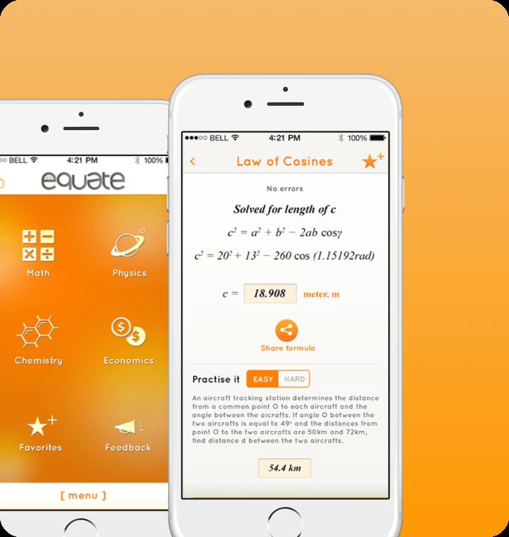 equate iOS app screen UI