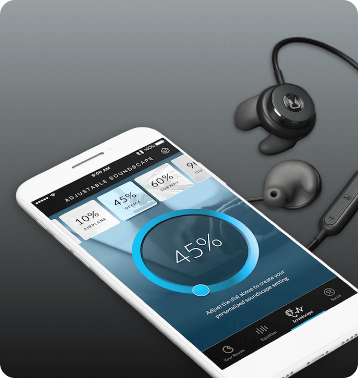 Revols mobile app soundscape UI screen with bluetooth earphones next to phone