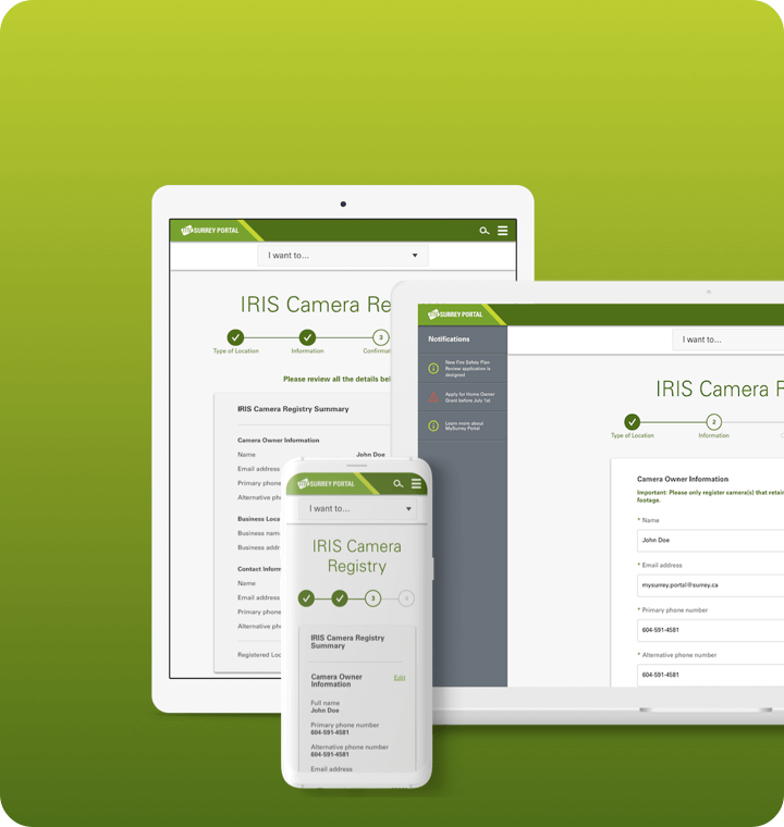 City of Surrey online portal UI screen on multiple devices