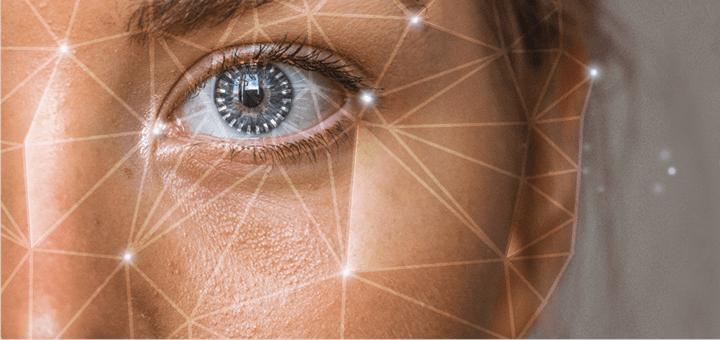 Blog banner for AmandaAI: Eye with grid around it