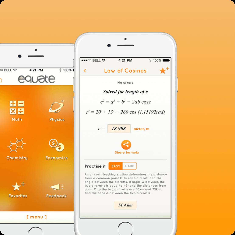 Equate mobile app screen