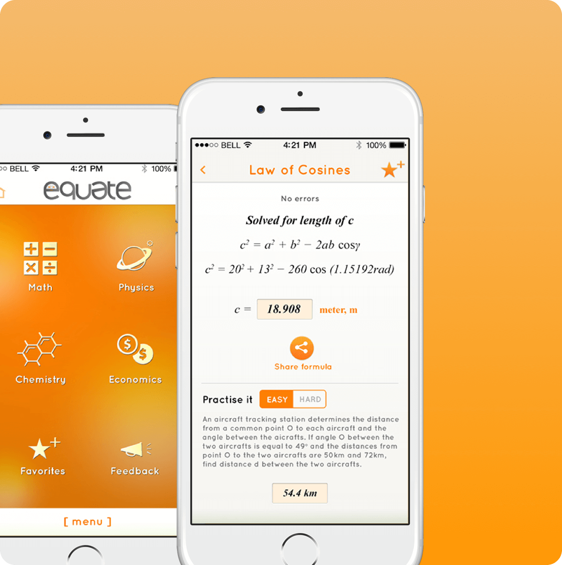 Equate mobile app screen