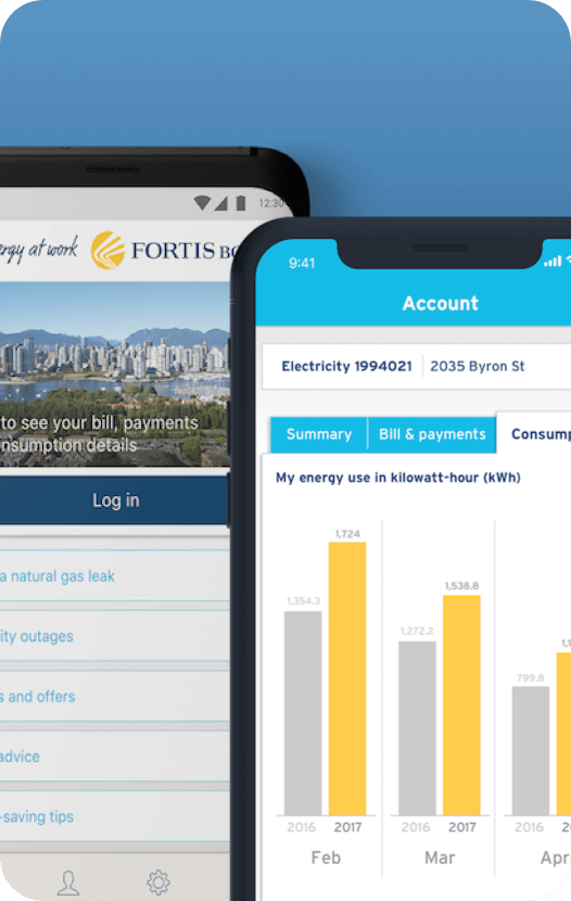 FortisBC mobile app login screen
