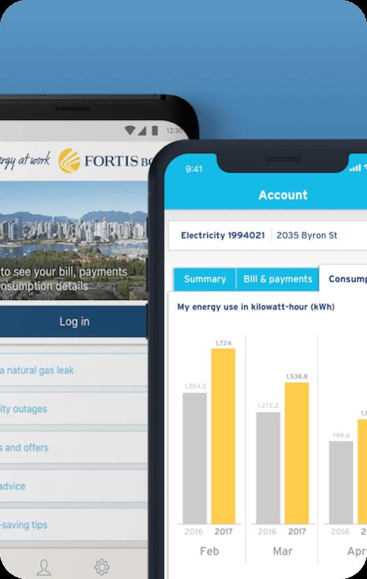 FortisBC mobile app login screen