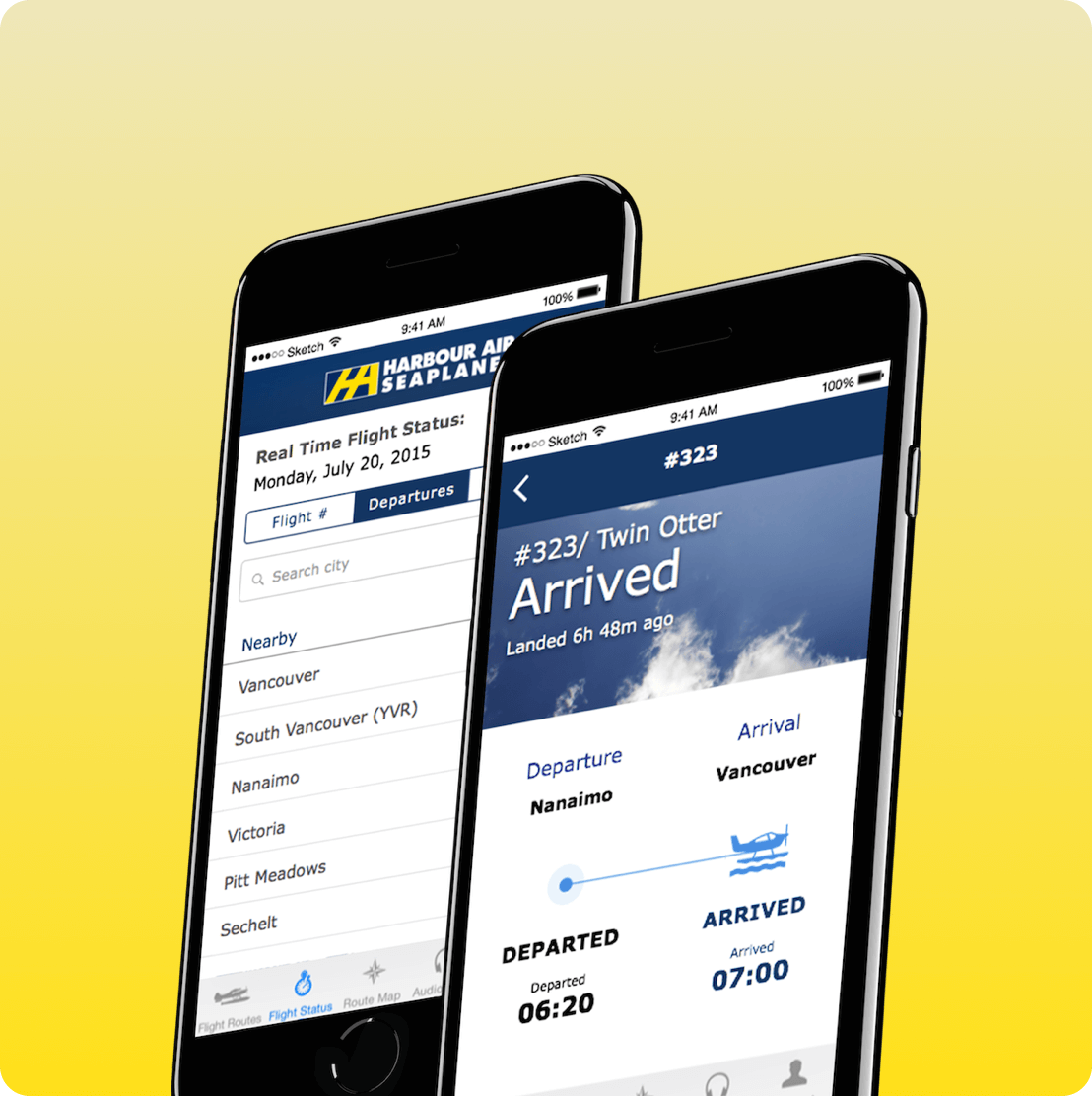 Harbour Air mobile app showing screen of flight schedule for seaplanes