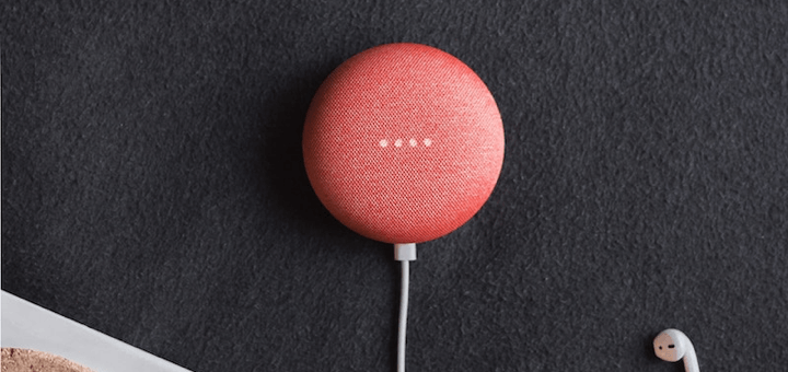 Picture of a pink google mini used for IoT