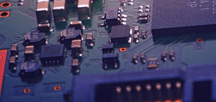 Picture of a motherboard with chips used to represent security
