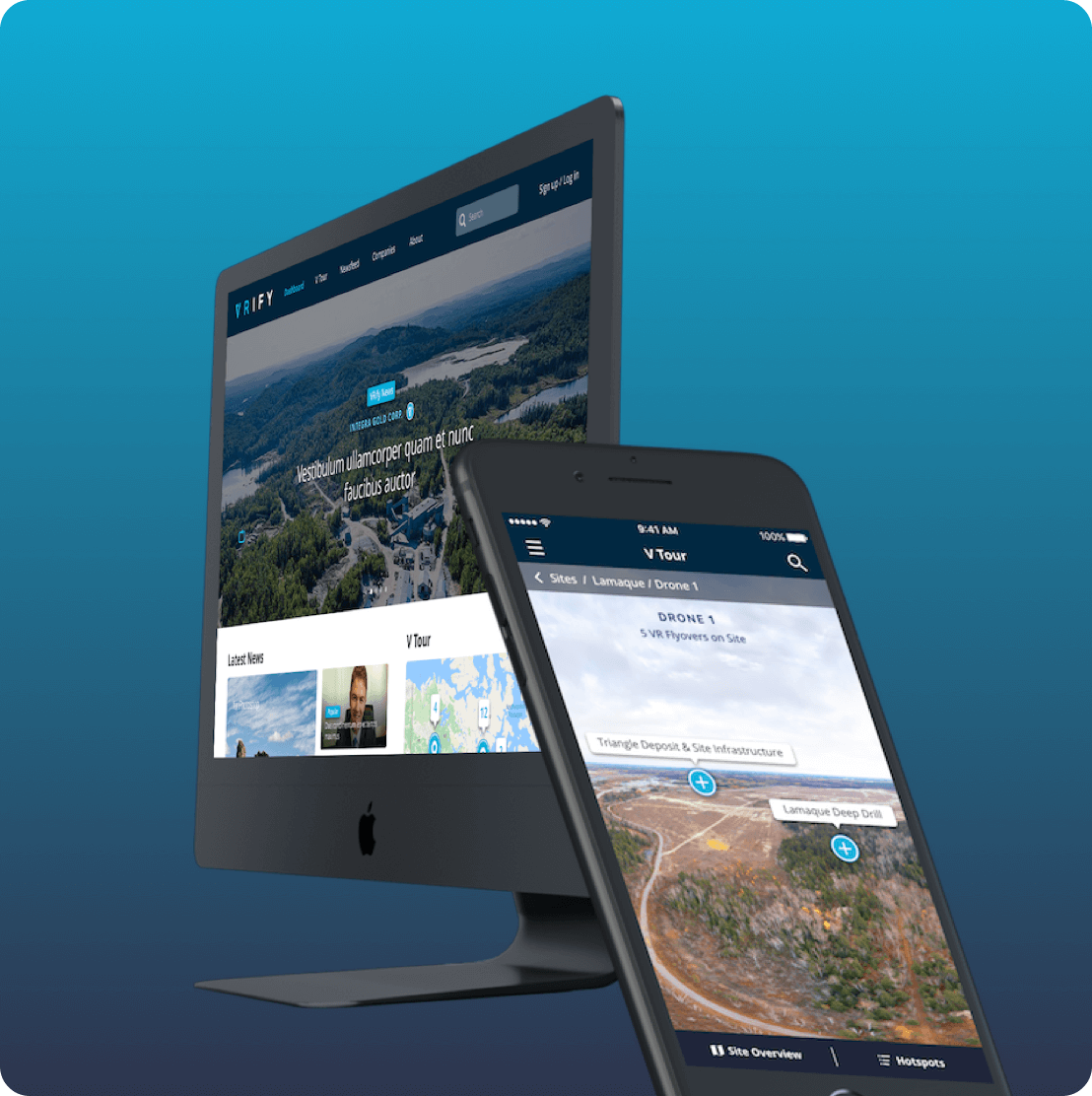 Mockup of VRify mining mobile app and website homepage