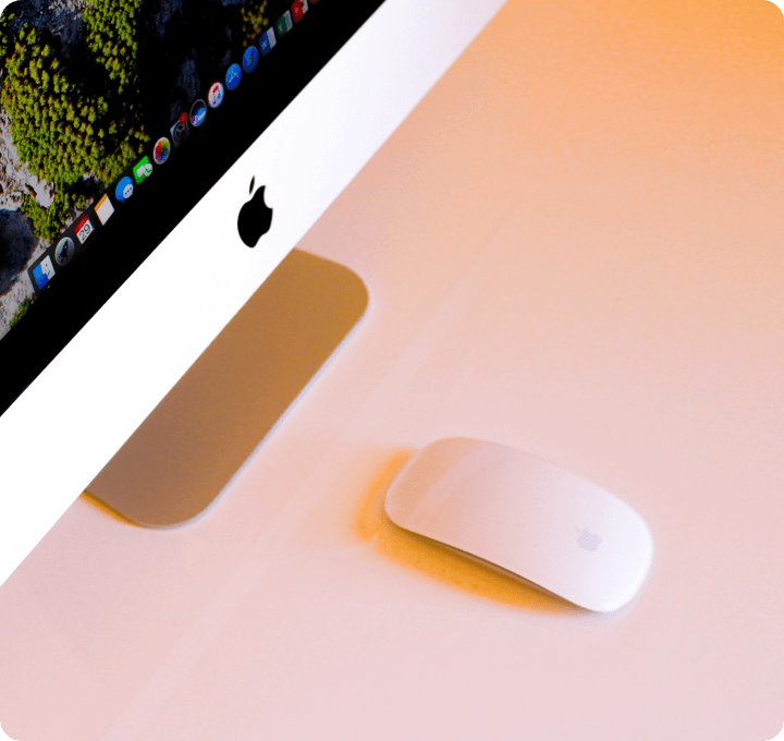 TTT Services Web Development: Stylistic picture of a mouse and a apple computer