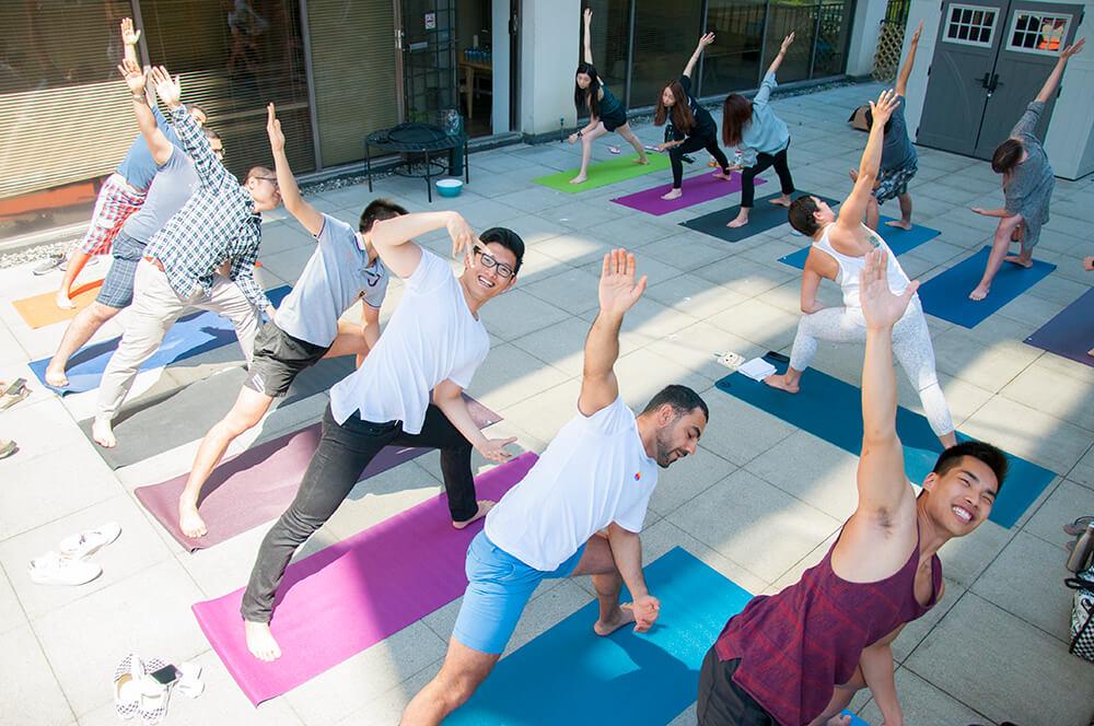 TTT Studios yoga sessions on patio