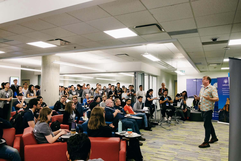 TTT President Chris Hobbs giving a speech at the VanHacks Hackathon