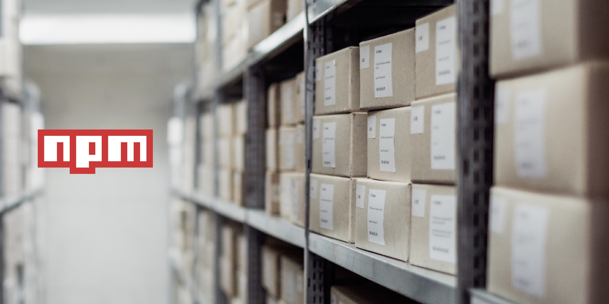 NPM blog on javascript blog, picture of packages in warehouse