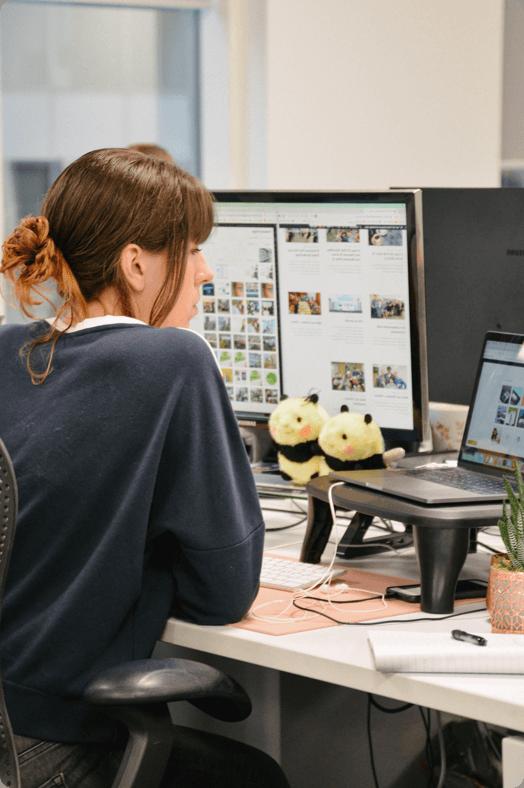 Female web developer working in office