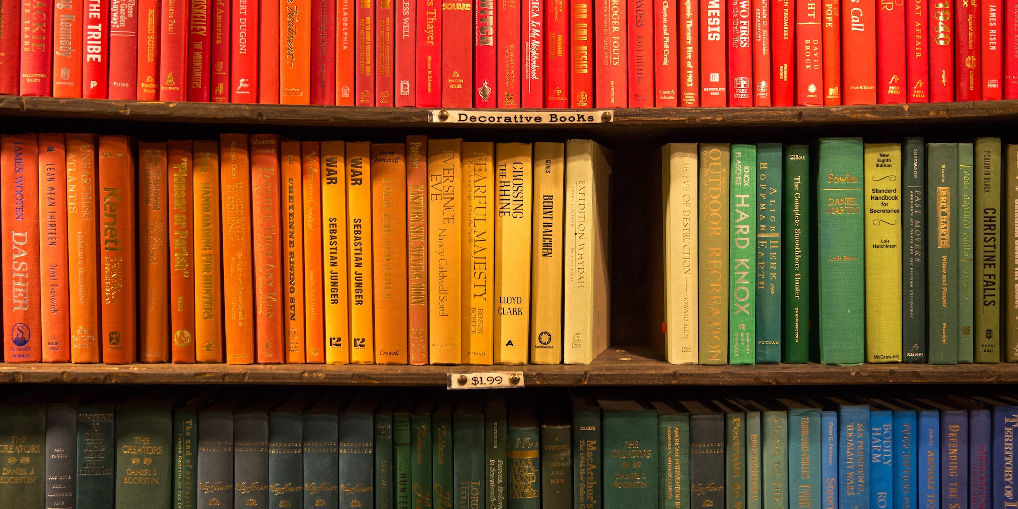 Bookshelves with many colour coded books