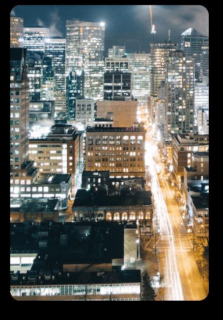 Birds eye view of city at night
