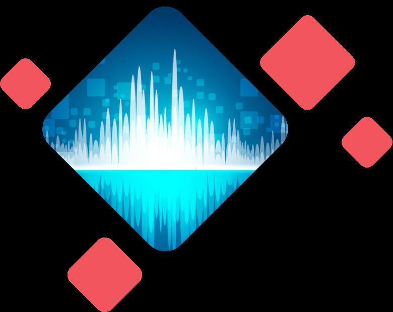 Blue Synthetic Soundwaves