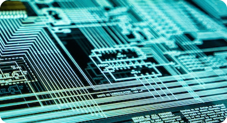 Zoomed in picture of a computer chip