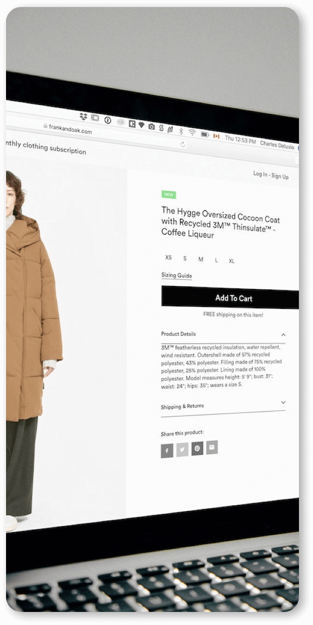 Example of an e-commerce website on product page