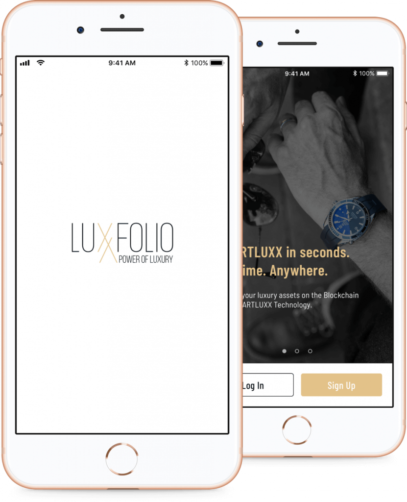 Luxxfolio mobile app login screen