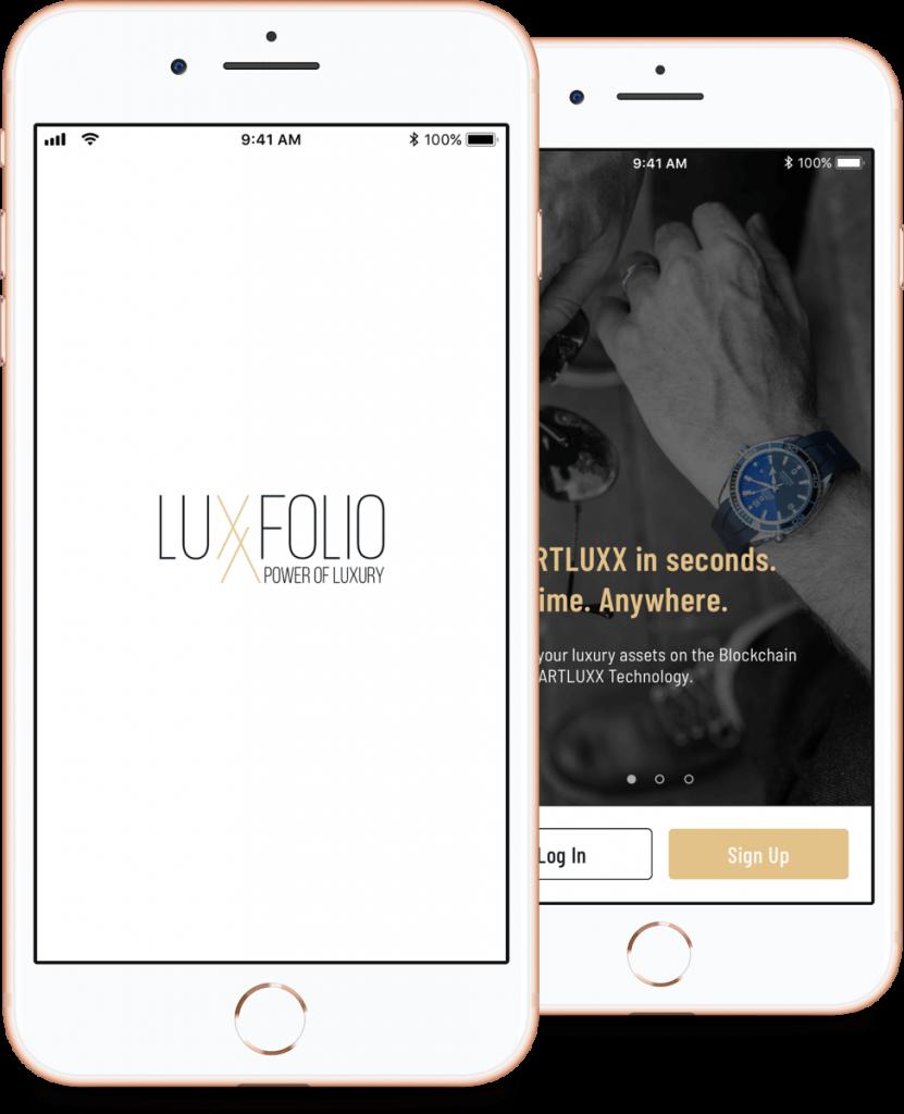 Luxxfolio mobile app login screen