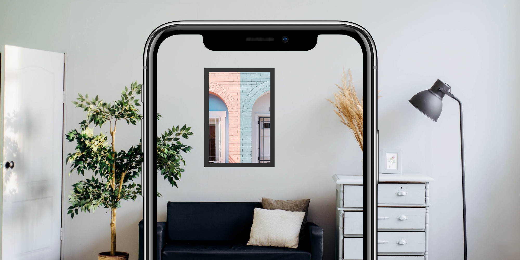 Mobile app placing picture on wall using Augmented reality