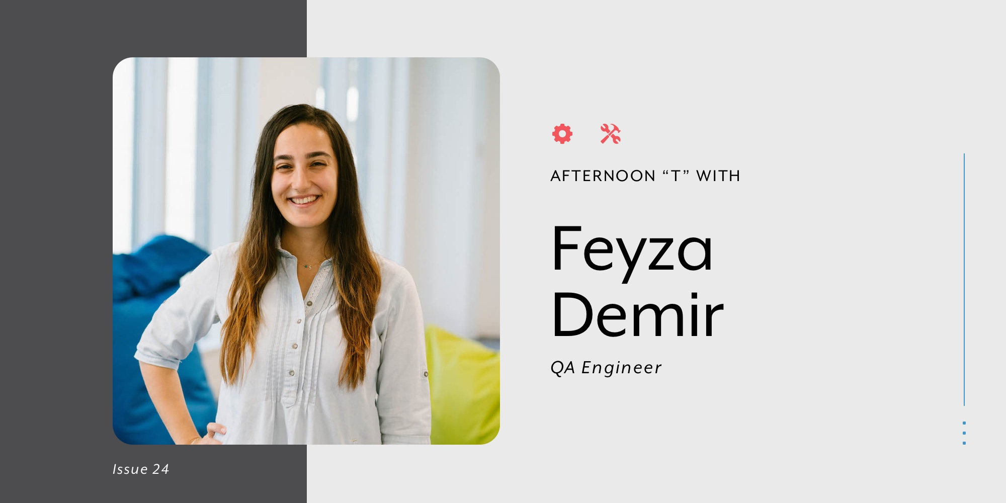 "Picture of ""Head of QA"" Feyza for blog banner"