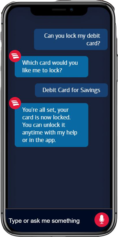 Screenshot of conversation between user and Bank of America's in-app AI chatbot, Erica.