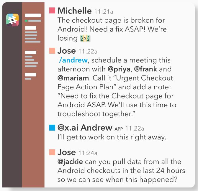 Screenshot of user asking x.ai's scheduling chatboot in Slack to schedule a meeting with his coworkers.