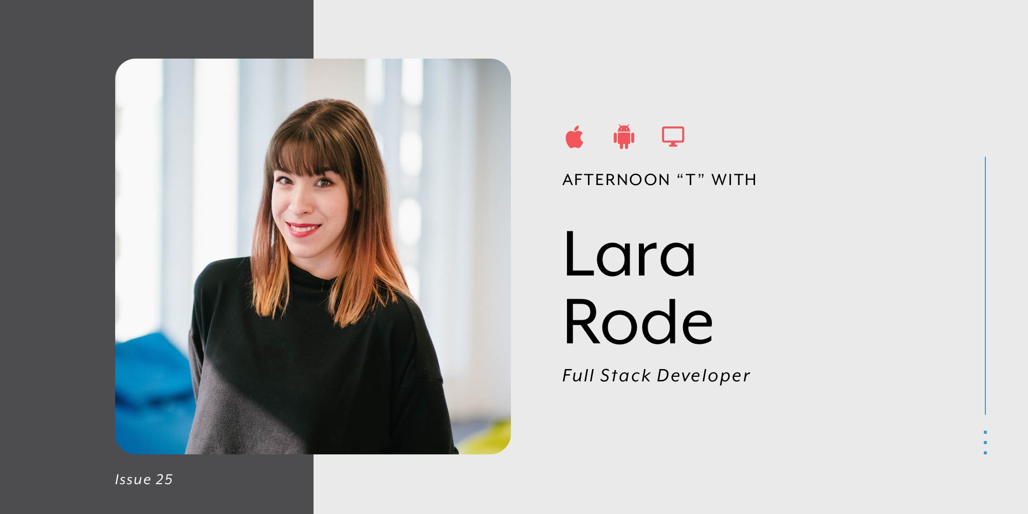 Picture of full stack developer Lara Rode for blog banner