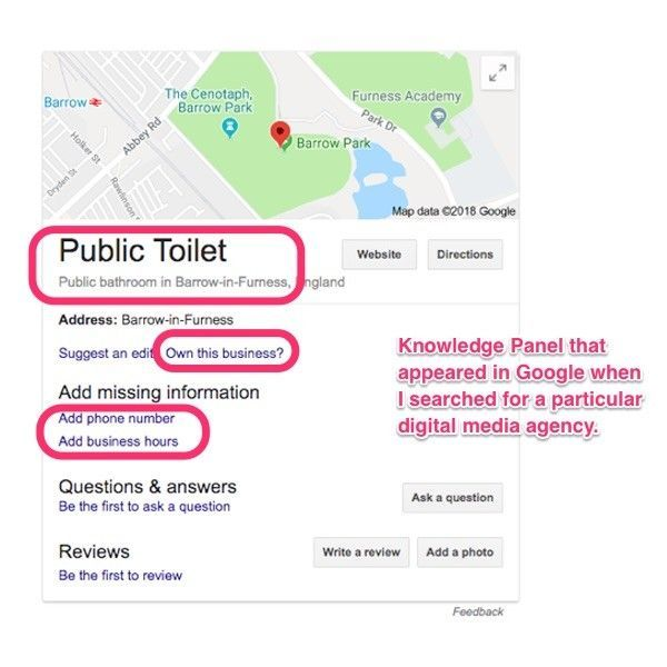 "Unclaimed Google Knowledge Panel displaying a ""Public Toilet"" for a digital media agency."