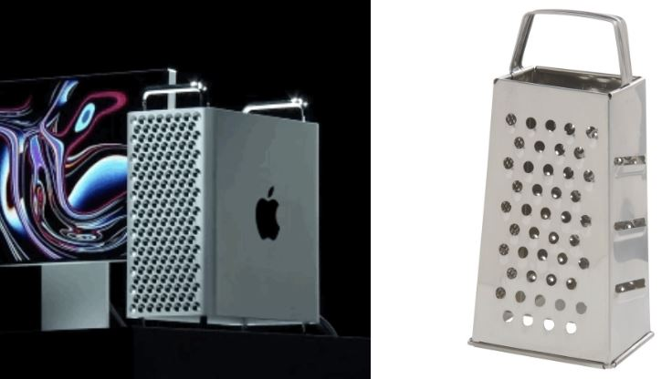 A side-by-side photo comparison of the 2019 Mac Pro and a cheese grater.
